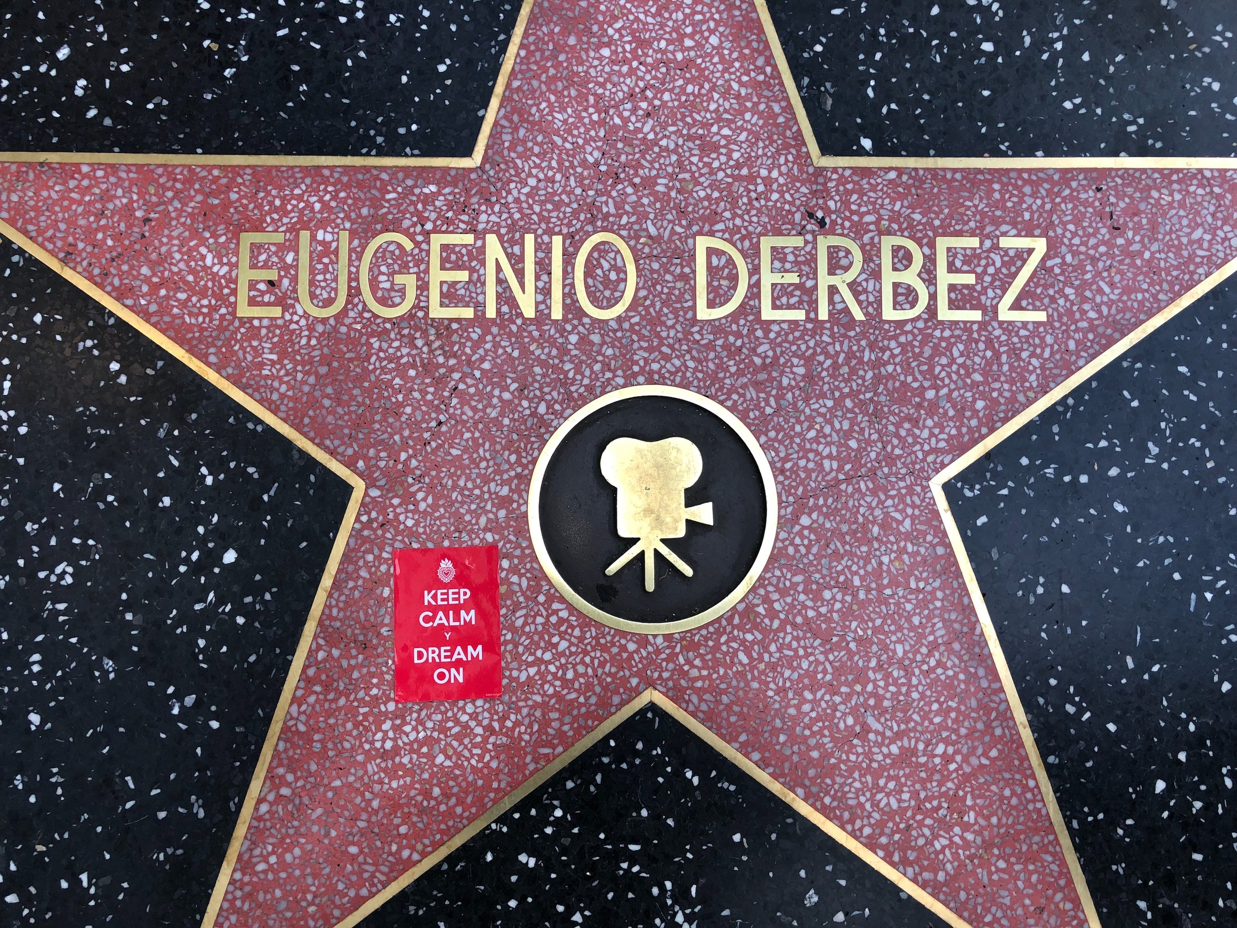 Hollywood Walk of Fame Los Angeles, California  April 23, 2018  Photo by Jesus Rangel  The famed sidewalk on Hollywood Blvd. features the terrazzo and brass stars with names of nearly 3000 prominent celebrities, including a number of Latino stars such as Eugenio Derbez and Sophia Vergara.