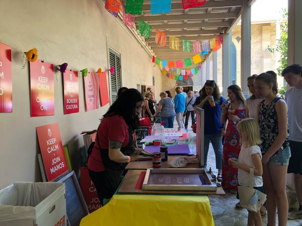 "@ Southwest School of Art's 2019 Fiesta Arts Fair with help from printmaker extraordinaire Lacey Bibiana Mills, Lauri Jones and her daughter Boston, Dina Wooten, ""el logoso"" Edgar Ortiz and with Enormous Thanks to Chad Dawkins and Paula Owen."