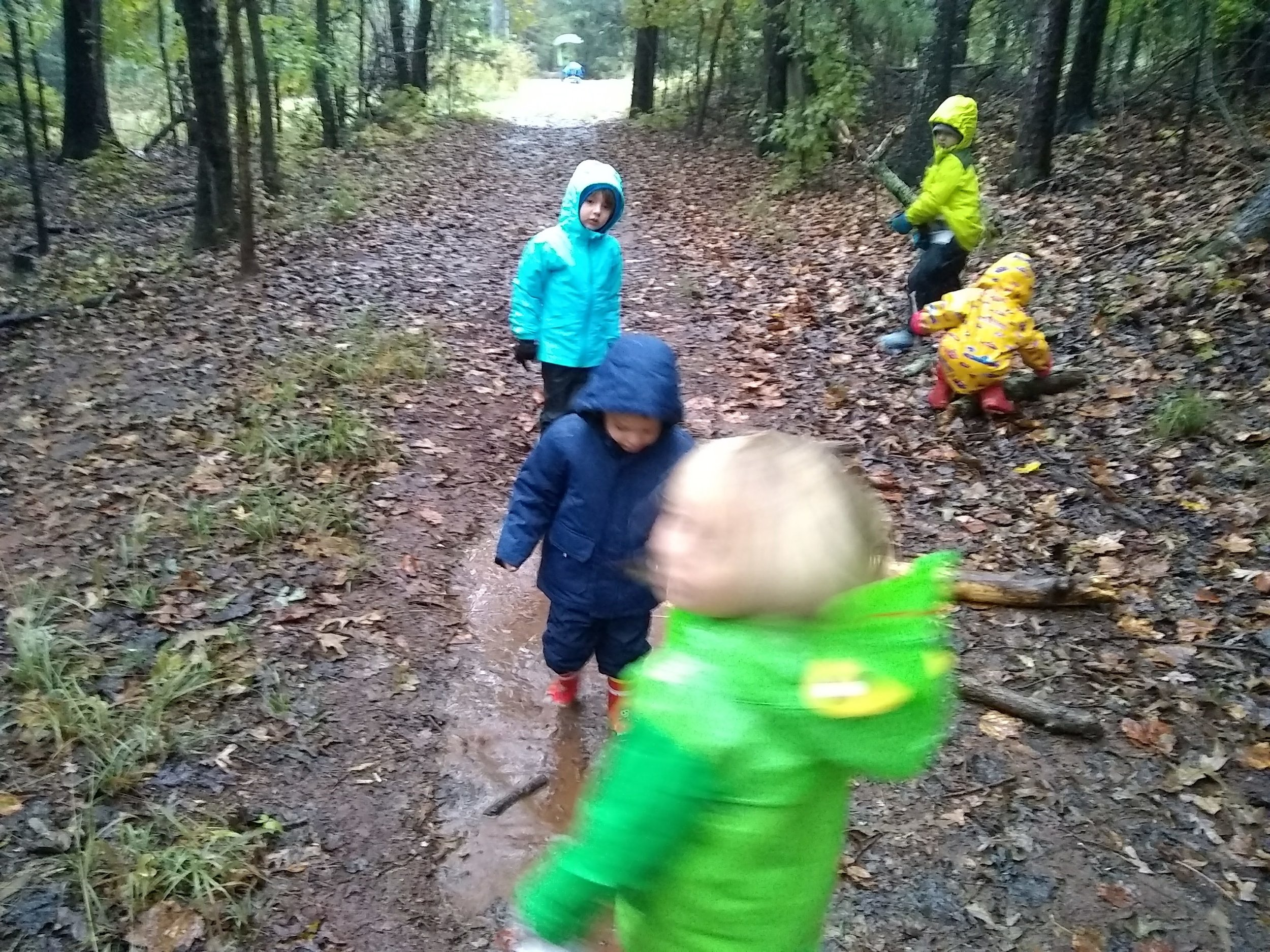 The children experienced so much wonder and cheer about the elements, thanks to the positive messages of parents dropping them off for a day of rainy adventures.