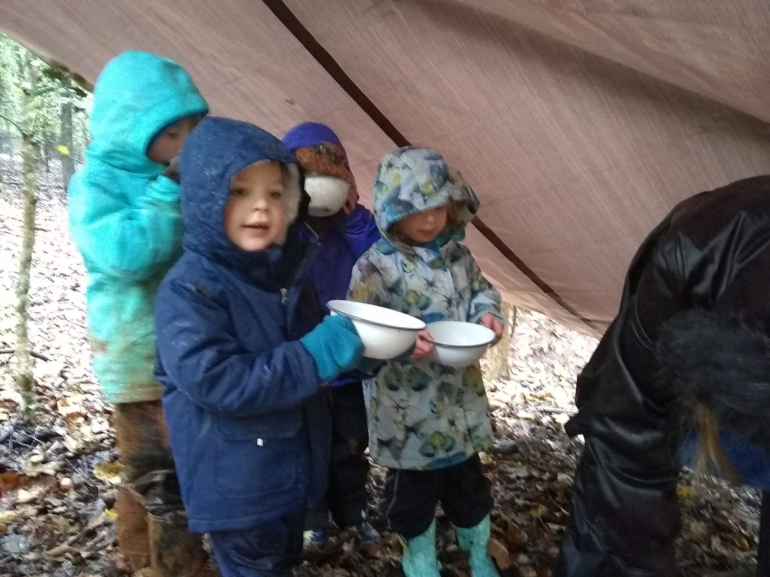 Nothing brings people together like getting out of the elements for a nice warm snack! We've witnessed new friendships blooming with the break in routine the rainy weather has brought.