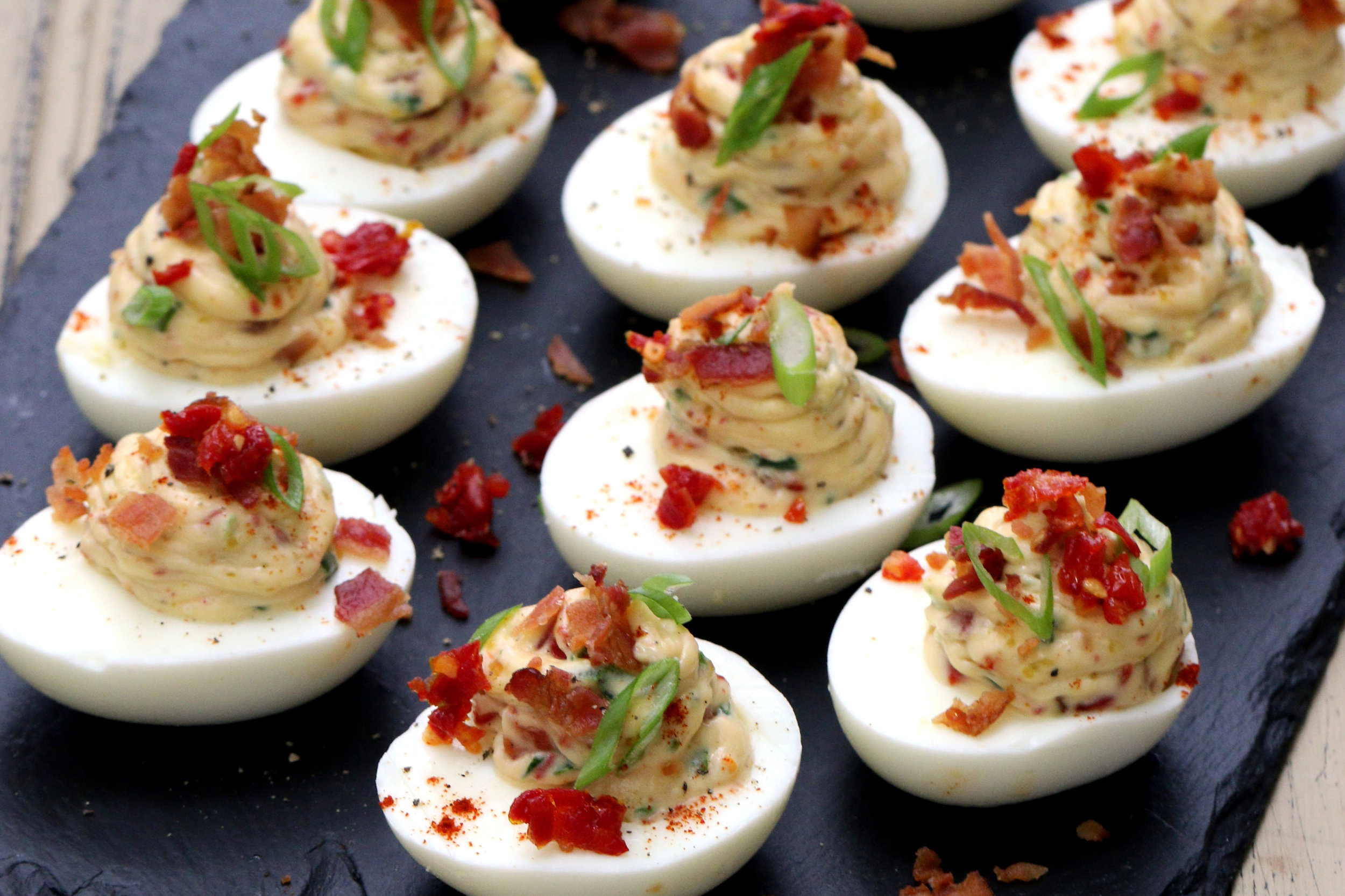 BEST LOW CARB KETO  Deviled Eggs with Bacon, Sun-dried Tomatoes and Scallions.jpg