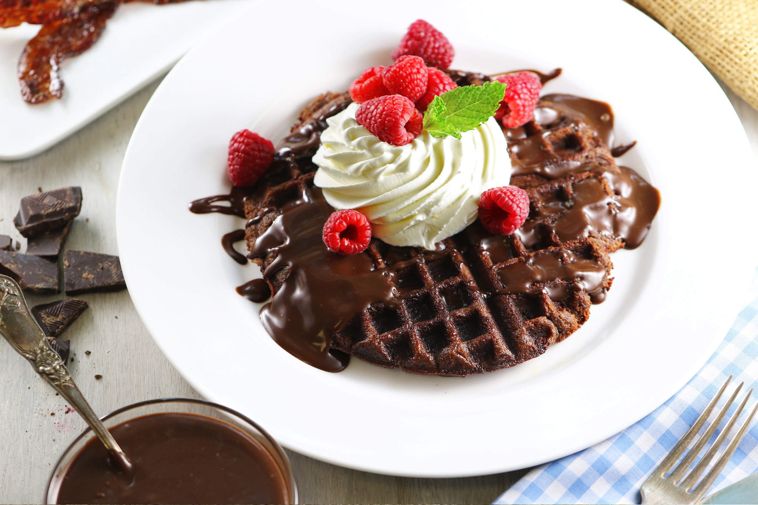 BEST LOW CARB KETO  CHOCOLATE AND ALMOND WAFFLES WITH CHOCOLATE SAUCE.jpg