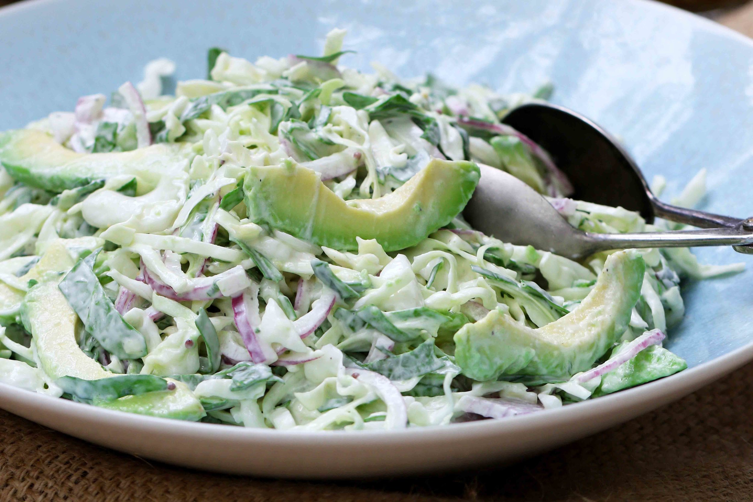 BEST LOW CARB KETO  CREAMY AVOCADO AND SPINACH COLESLAW RECIPE.jpg