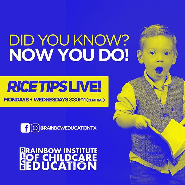 Did she just say that?! Join us at 8pm every Monday and Wednesday for #ricetipslive! No topic is out of bounds on this show, and we want YOU to be a part of it. . . #Tips #Tricks #Advice #FacebookLive #Education #Childcare #Daycare #institute #SanAntonio #Texas #SA