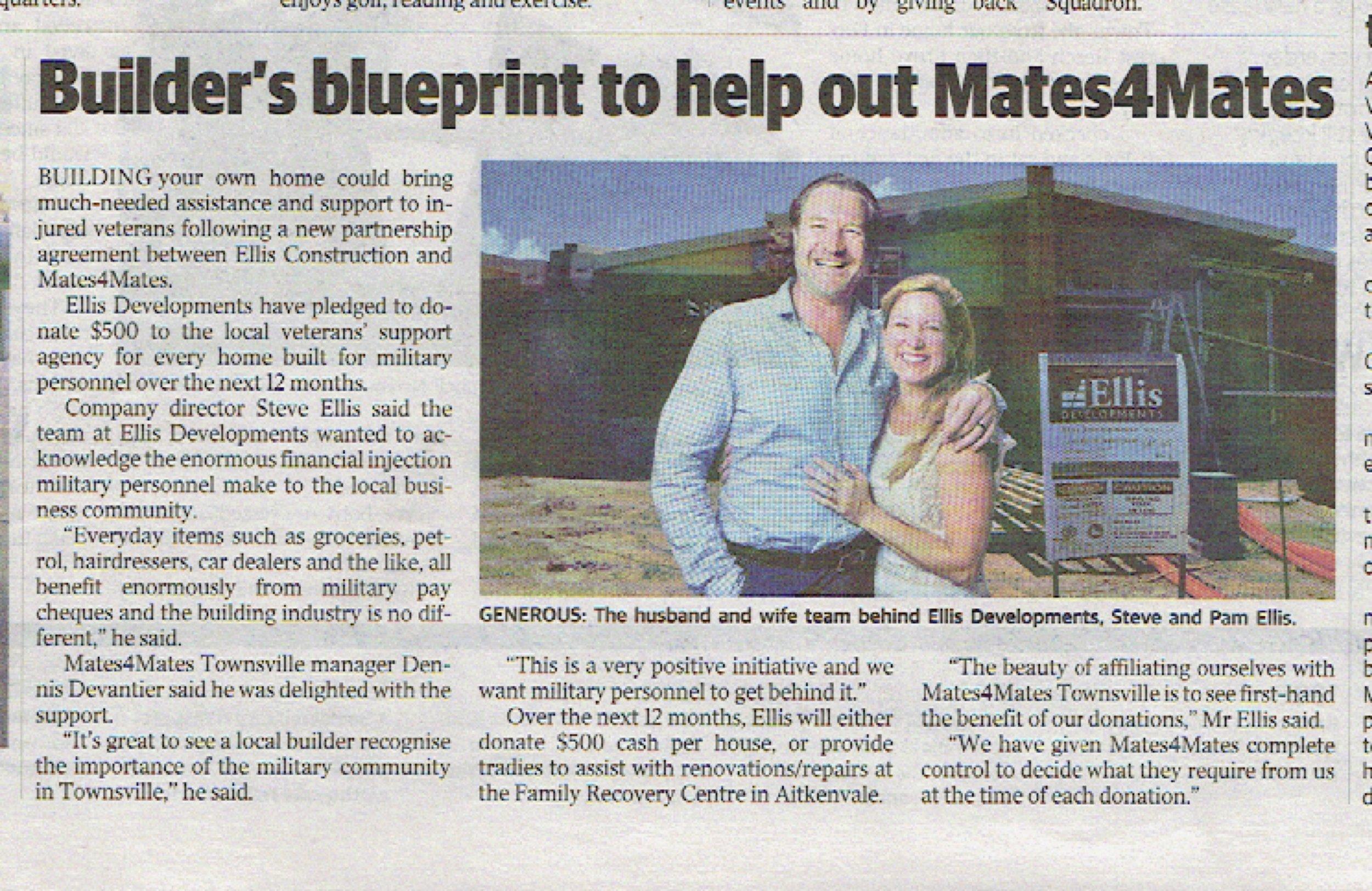 TownsvilleBulletin_Builders-blueprint-to-help-out-mates4mates_PamEllisInternational_EllisDevelopments_Article_pres