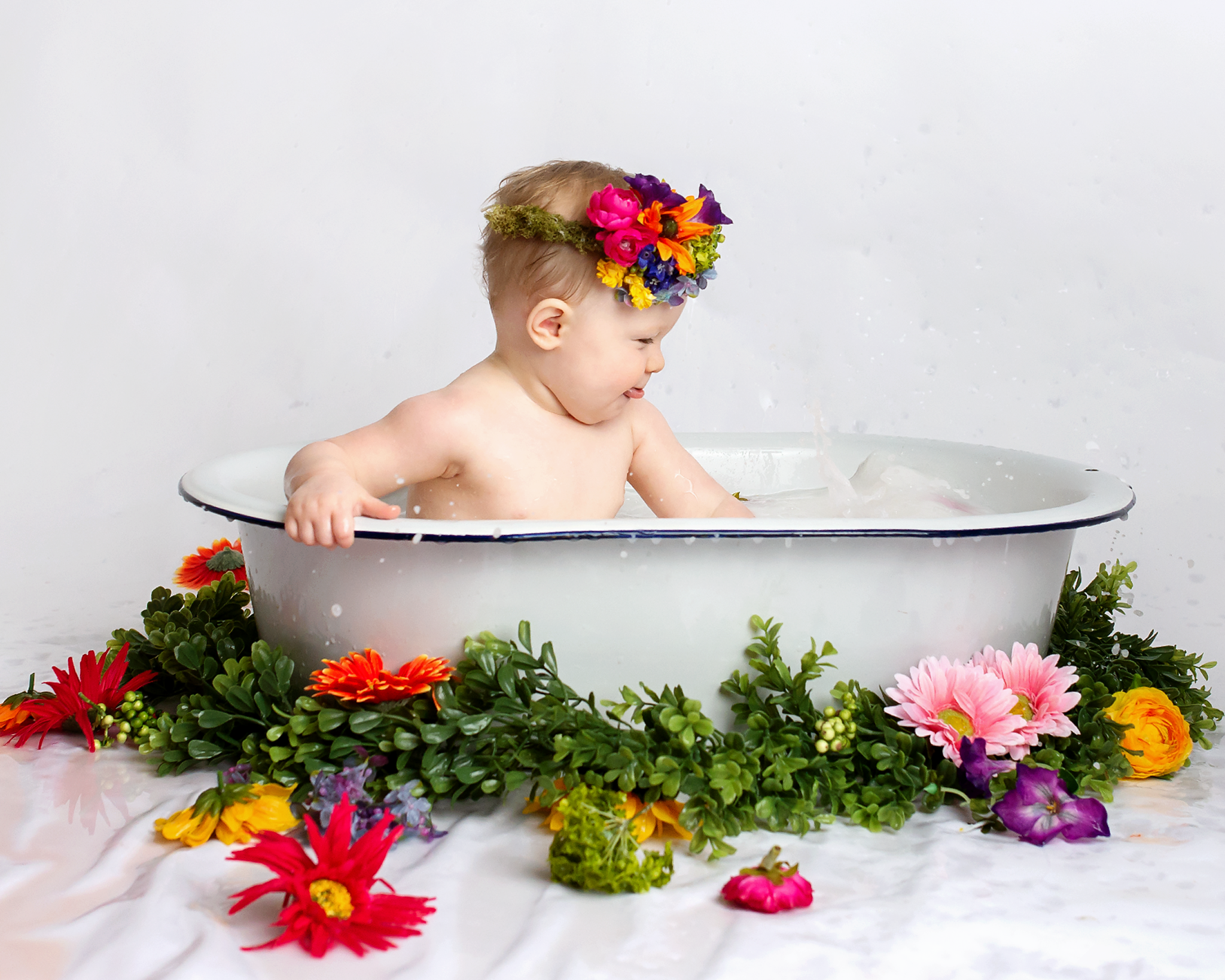 milk and fruit bath $250 - Milk and or Fruit Bath's are so much fun and can be used as a Complete Milestone Experience or just because! Who doesn't love to see their littles giggling and splashing? Milk/Fruit Bath sessions include a pre-consultation, up to 1 hour of studio time, private online proofing and final galleries with 10 - 12 proofs, 8 high resolution digital images (your choice) delivered via digital download that are printable up to 8x10 with print release. You will also receive 15% off additional digital images, wall art, albums and prints.