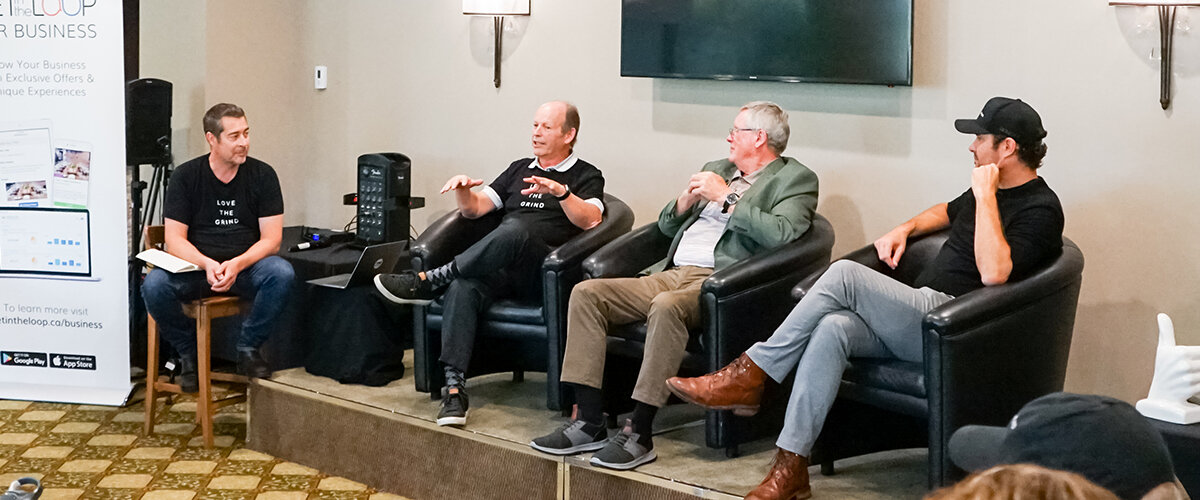 GetintheLoop CMO Jason Mann leads a fireside chat during GetintheLoop's annual franchise convention featuring three GITL advisors (left to right): Cliff Shillington, Larry Pollock, Coulter Wright.