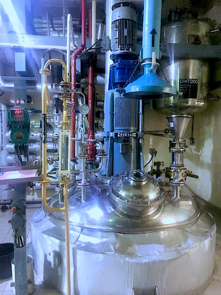Actual reactor currently being used to synthesize several kilograms of cGMP PPI-1040.