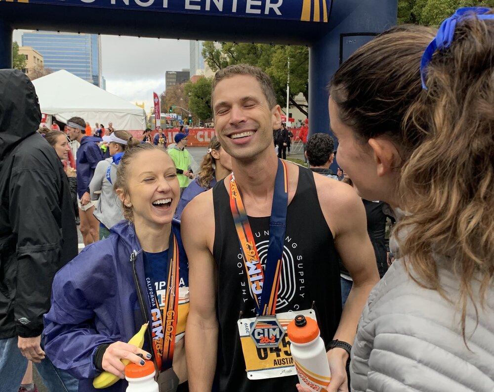 The finish line of the California International Marathon