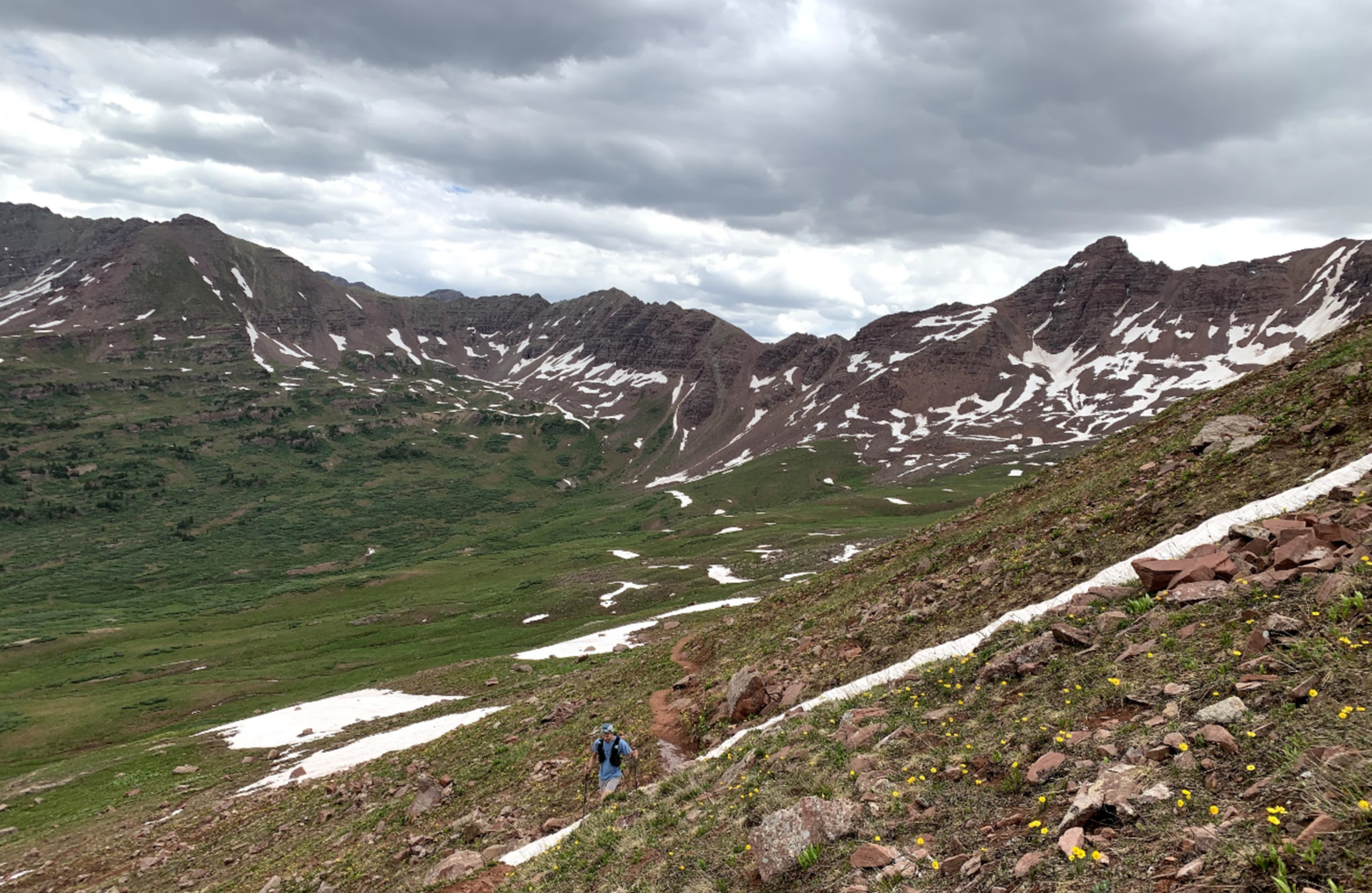 The ascent to Frigid Air Pass. The clouds were concerning, but the rain ultimately held off.