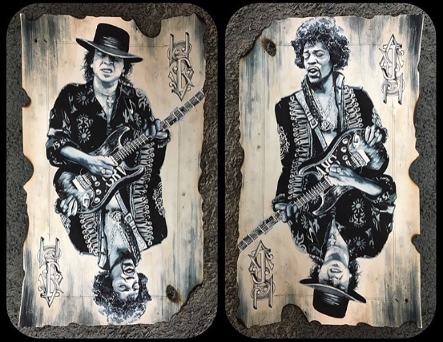 Stevie Ray Vaughan and Jimi Hendrix artworks by Mimi Bailey
