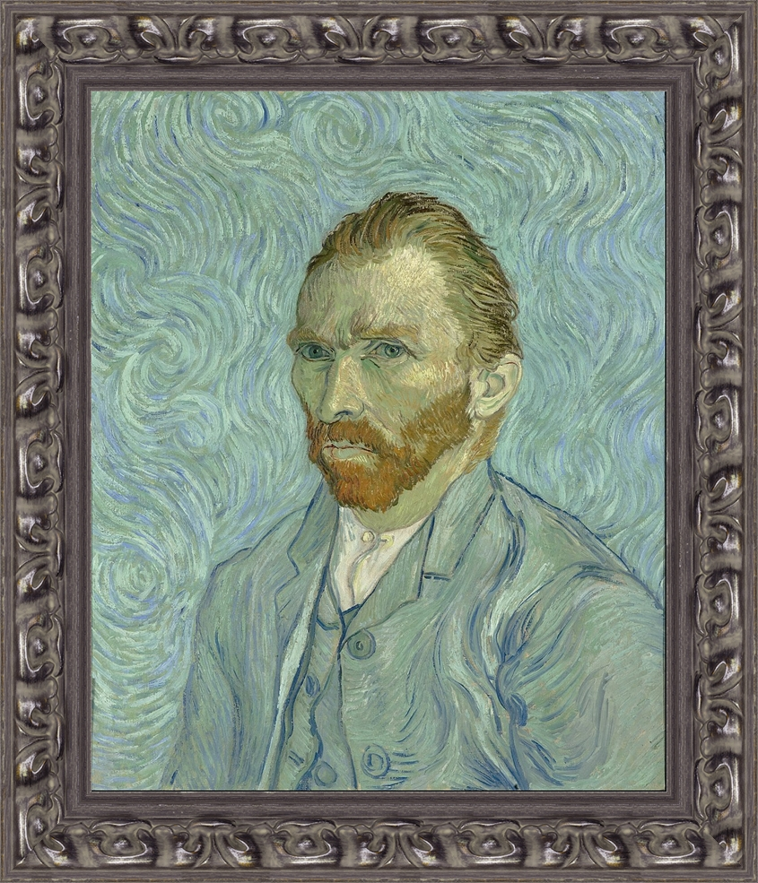 Elemental Framing for Leonard Brown's Vincent Van Gogh's self portrait for the  Annual Forgery Show  in Mount Shasta.
