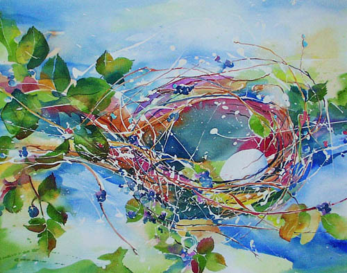 Nest in Berry Vines - Kim Solga watercolor
