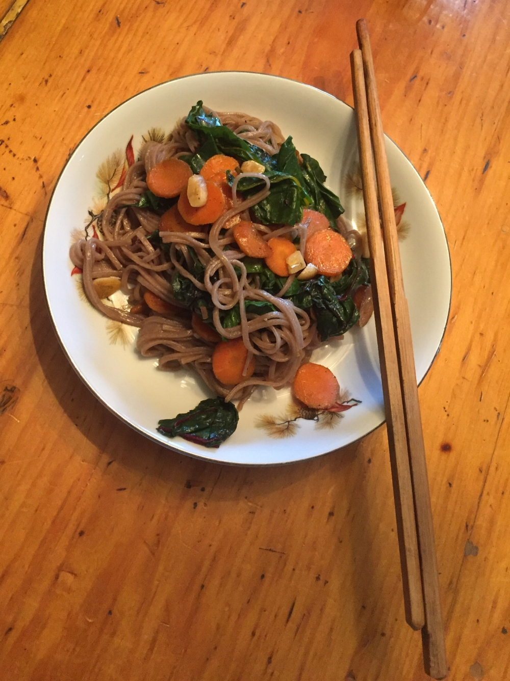 Green and Orange Garlicky Dinner - A simple meal that's feels more exotic when eaten with chopsticks.