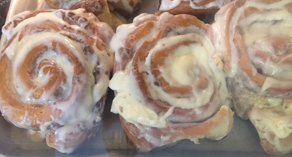 Cinnamon Rolls! need I say more? They are large enough to share.
