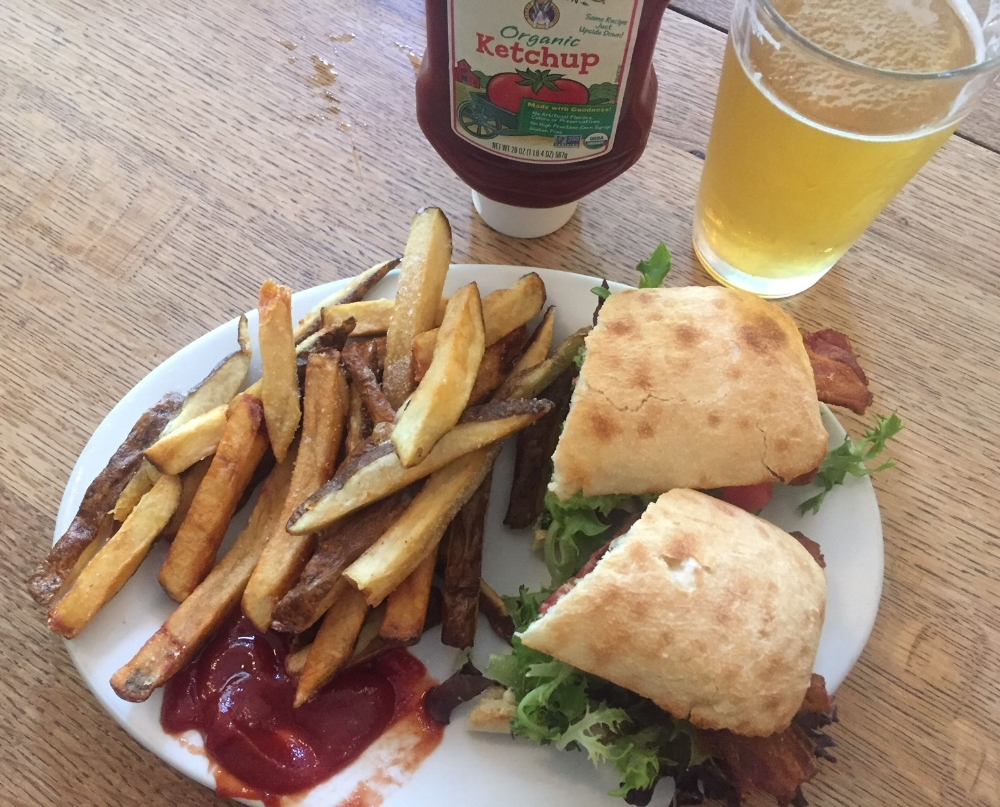 BLT with apple wood smoked bacon and hand cut French fries. Just the right amount of bread ratio to crispy lettuce, ripe tomato and mayo.