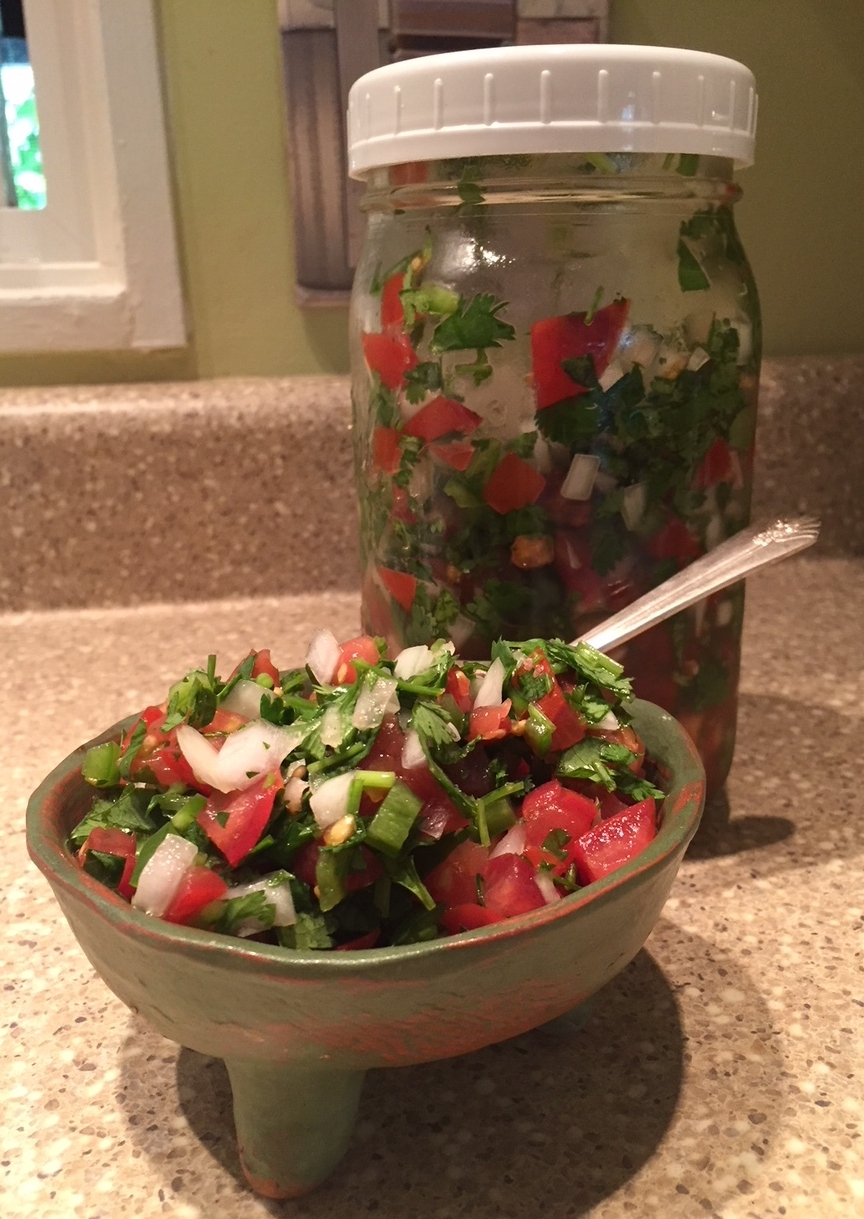 Pico de Gallo in a beautiful handmade salsa dish I bought in Truchas, New Mexico 'on the high road' from Santa Fe to Taos. Also where they filmed   The Milagro Beanfield War     ,   one of my all time favorites.