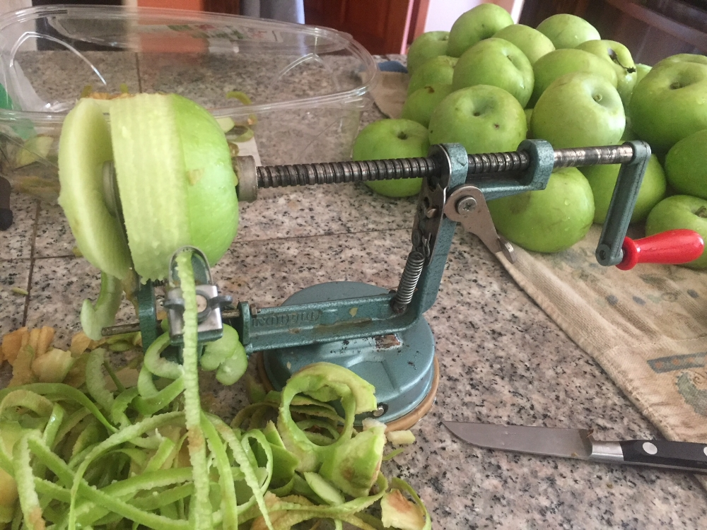 Apple peeler, that also slices and cores the apple…making the job easy as pie!