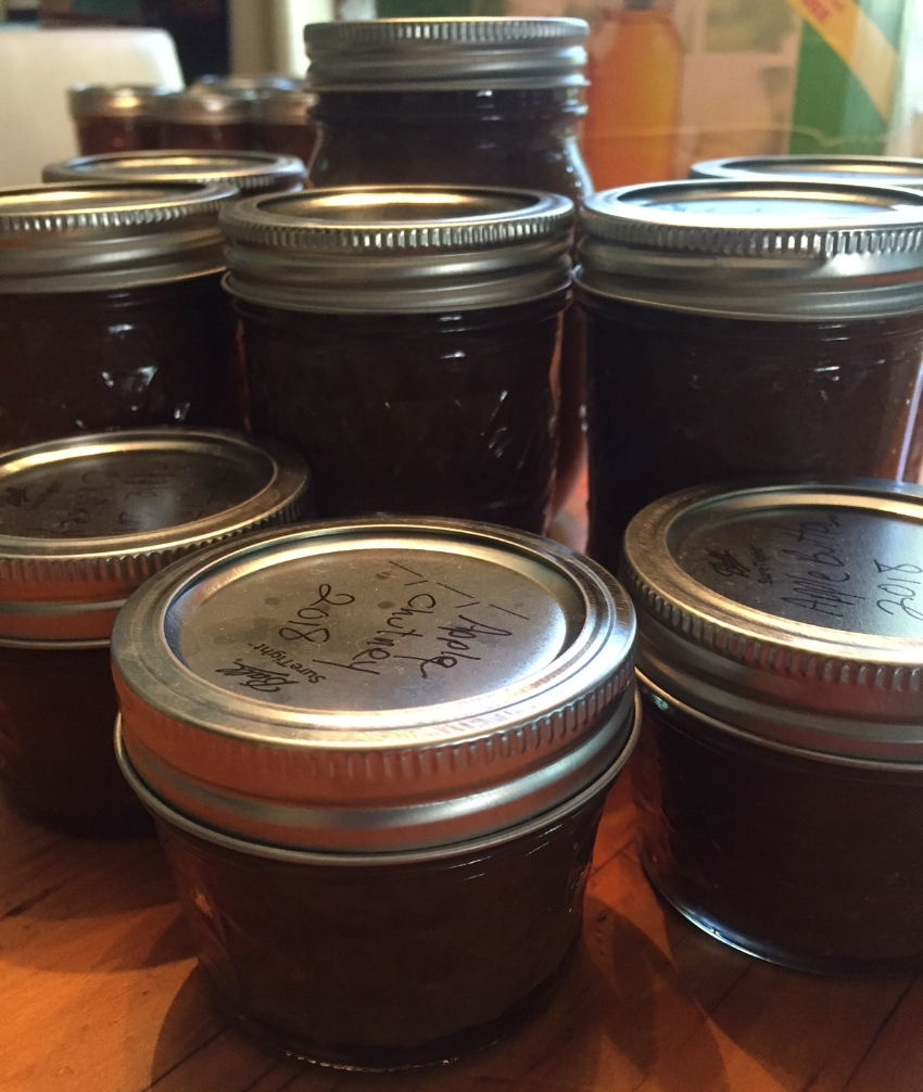 Jars of  Apple Chutney  and  Apple Butter.