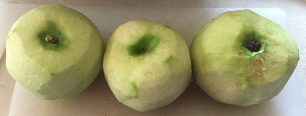 Peeled tart green apples -