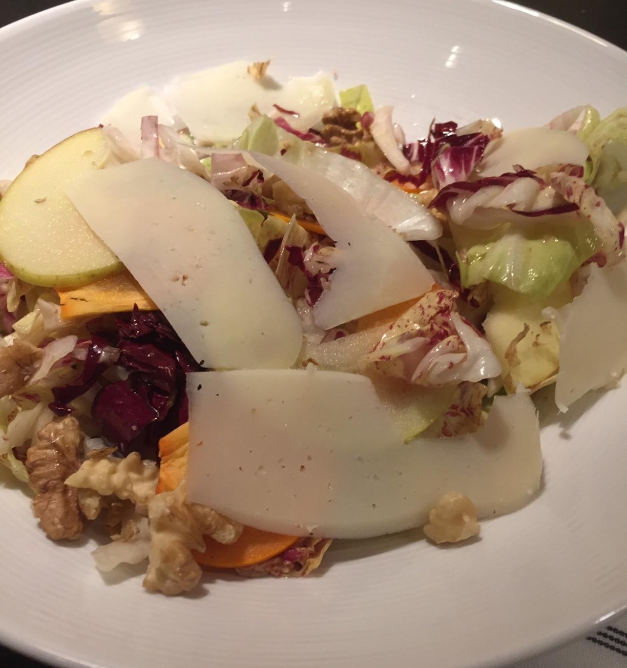 Season Fall salad made with baby arugula - beautifully presented.