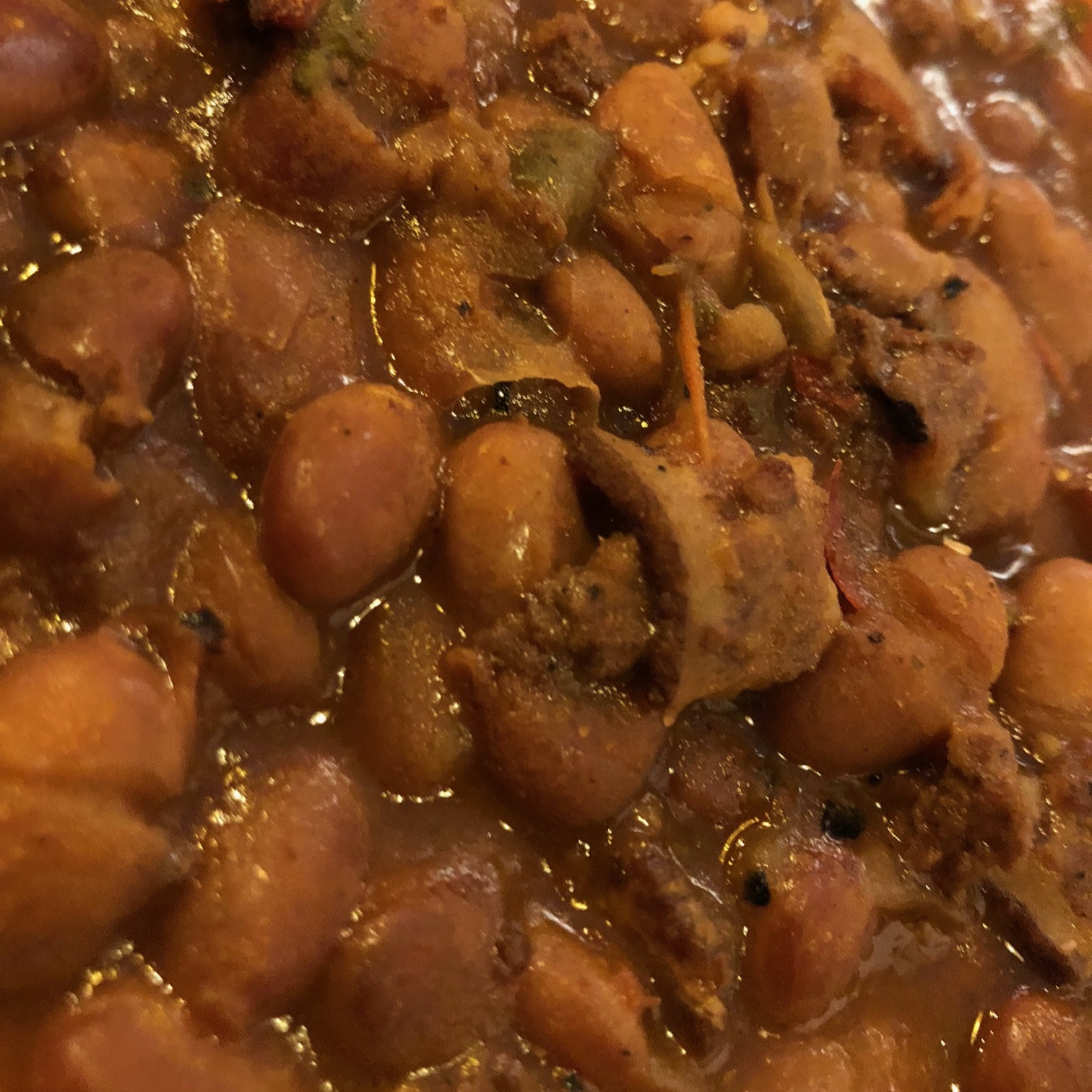 Charro Beans are pinto beans with bacon and chorizo.