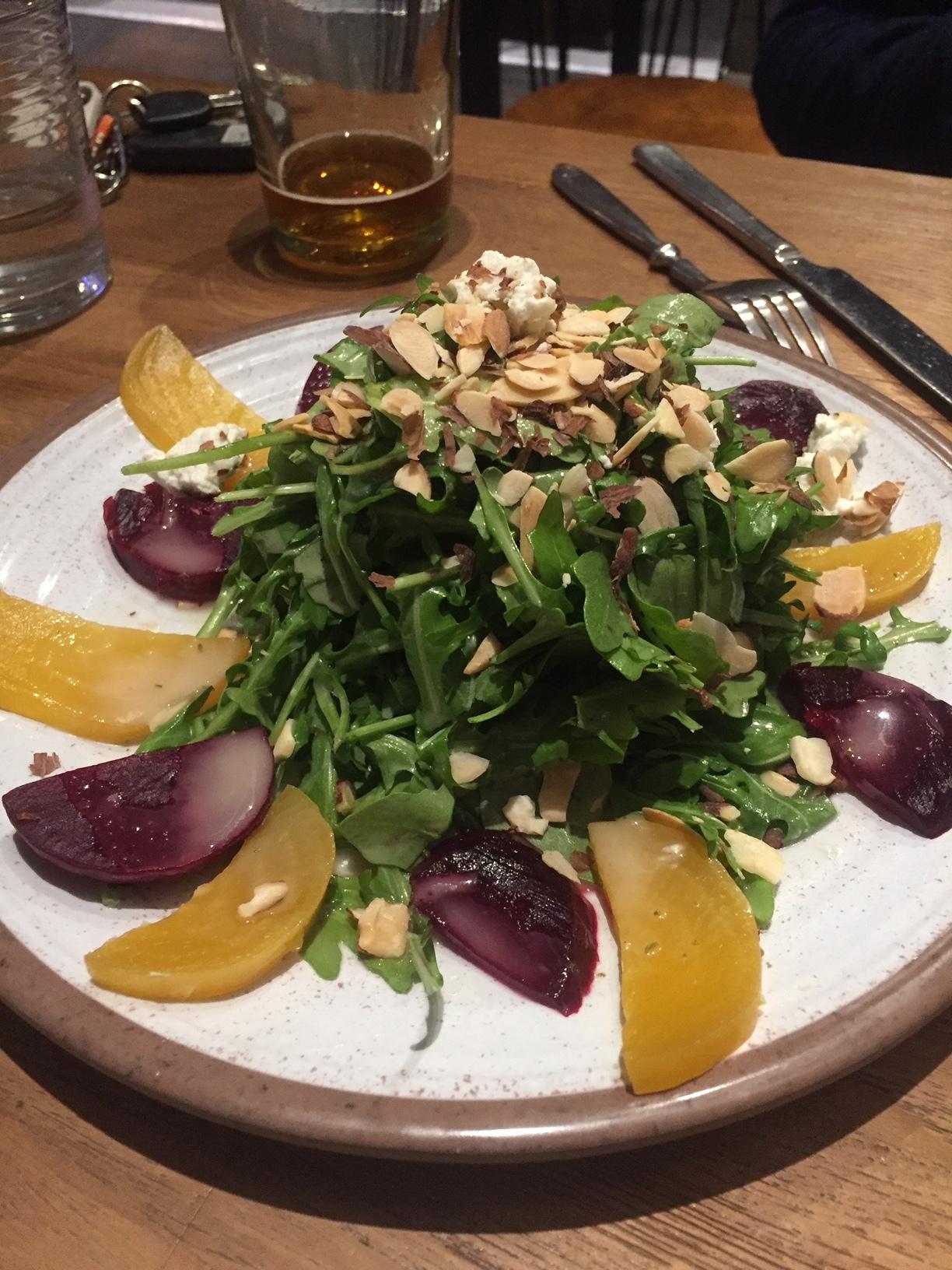 Roasted beet salad with a tart Lemon vinaigrette
