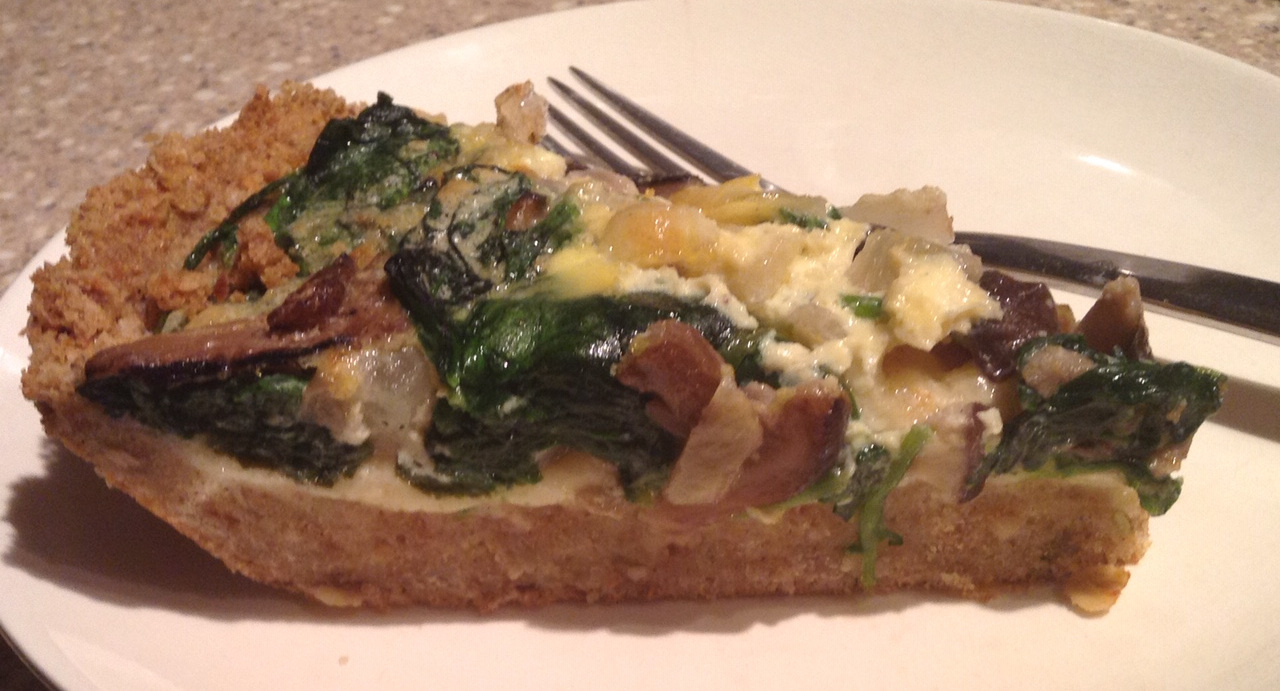 Quiche 1 -  with spinach and shitake mushrooms. This crust was too much!