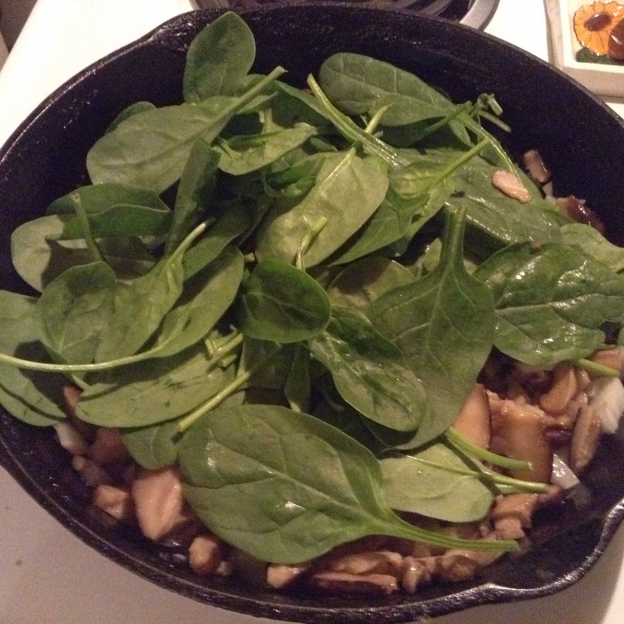 A lot of spinach cooks down quickly to a small amount.
