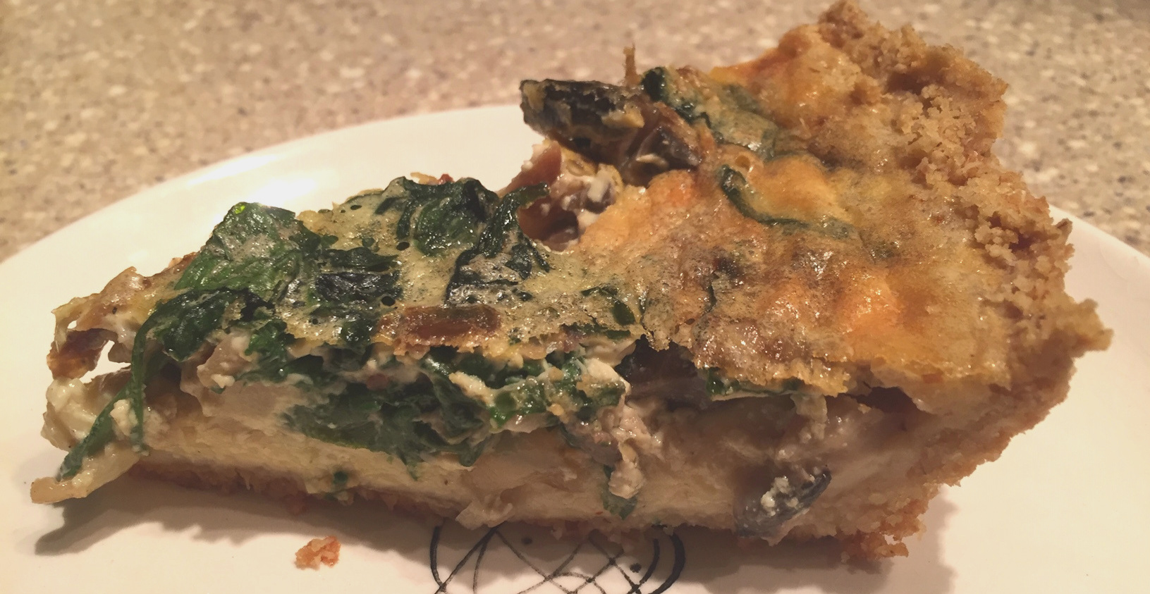 Quiche 2 -  Spinach and a mixture of mushrooms. Much improved crust!