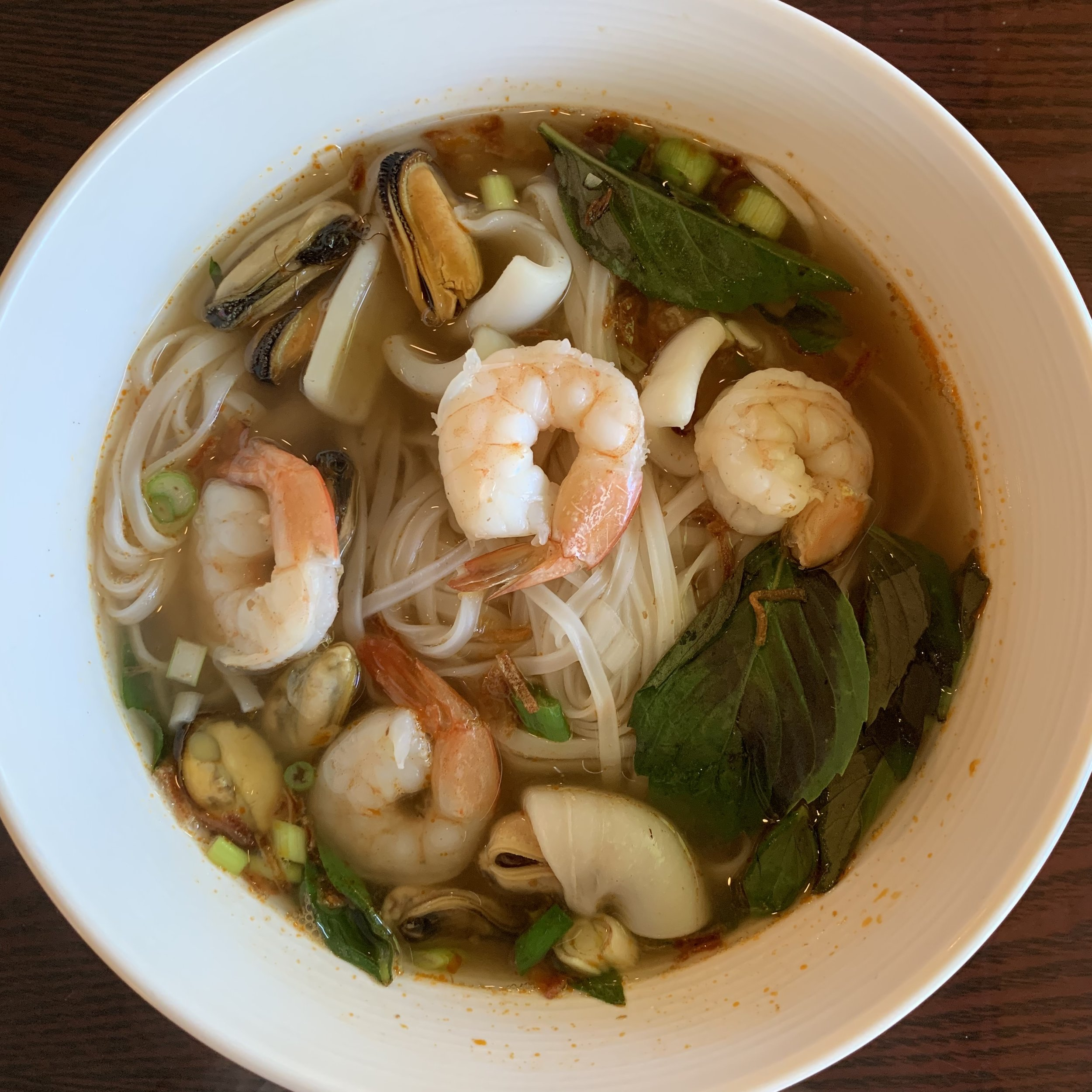 Seafood soup is full of flavors.