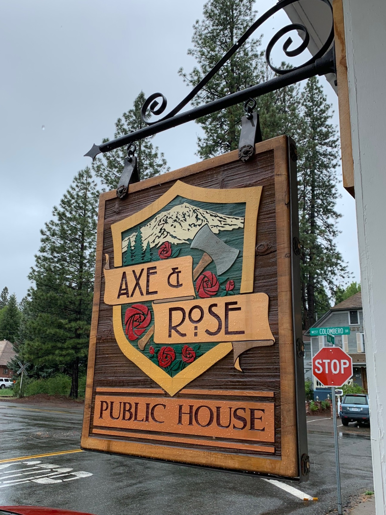 Axe and Rose Public House on the corner of Main St. and Colombero Rd.