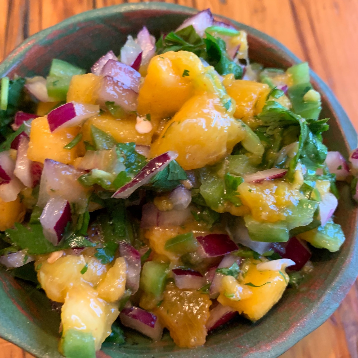 Simple fresh ingredients make a beautiful salsa- peaches, onions, cilantro jalapeno and lime juice