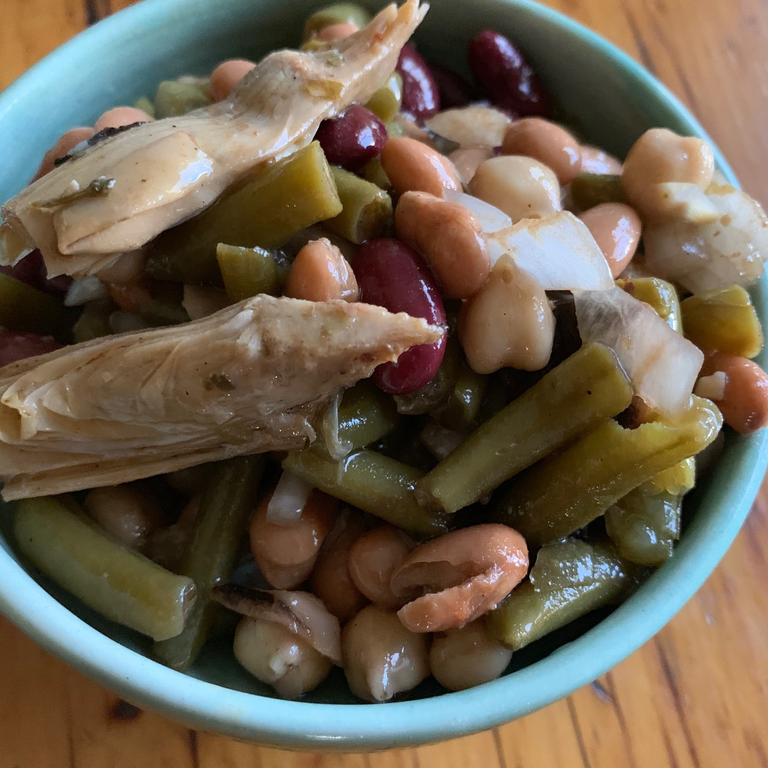 4 bean salad with marinated artichokes  - good for pot lucks and picnics -  GF  + vegan