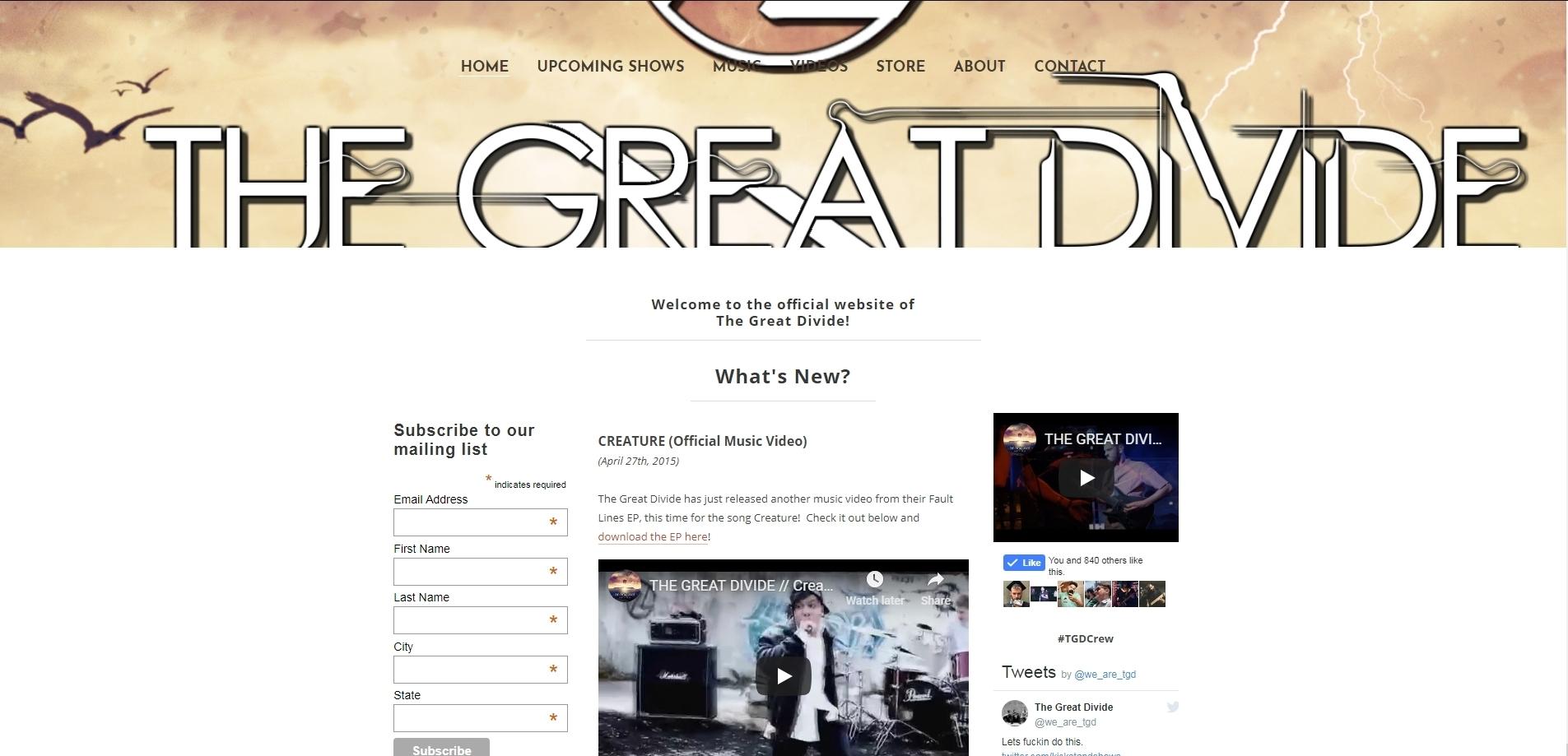 The Great Divide Website & EPK