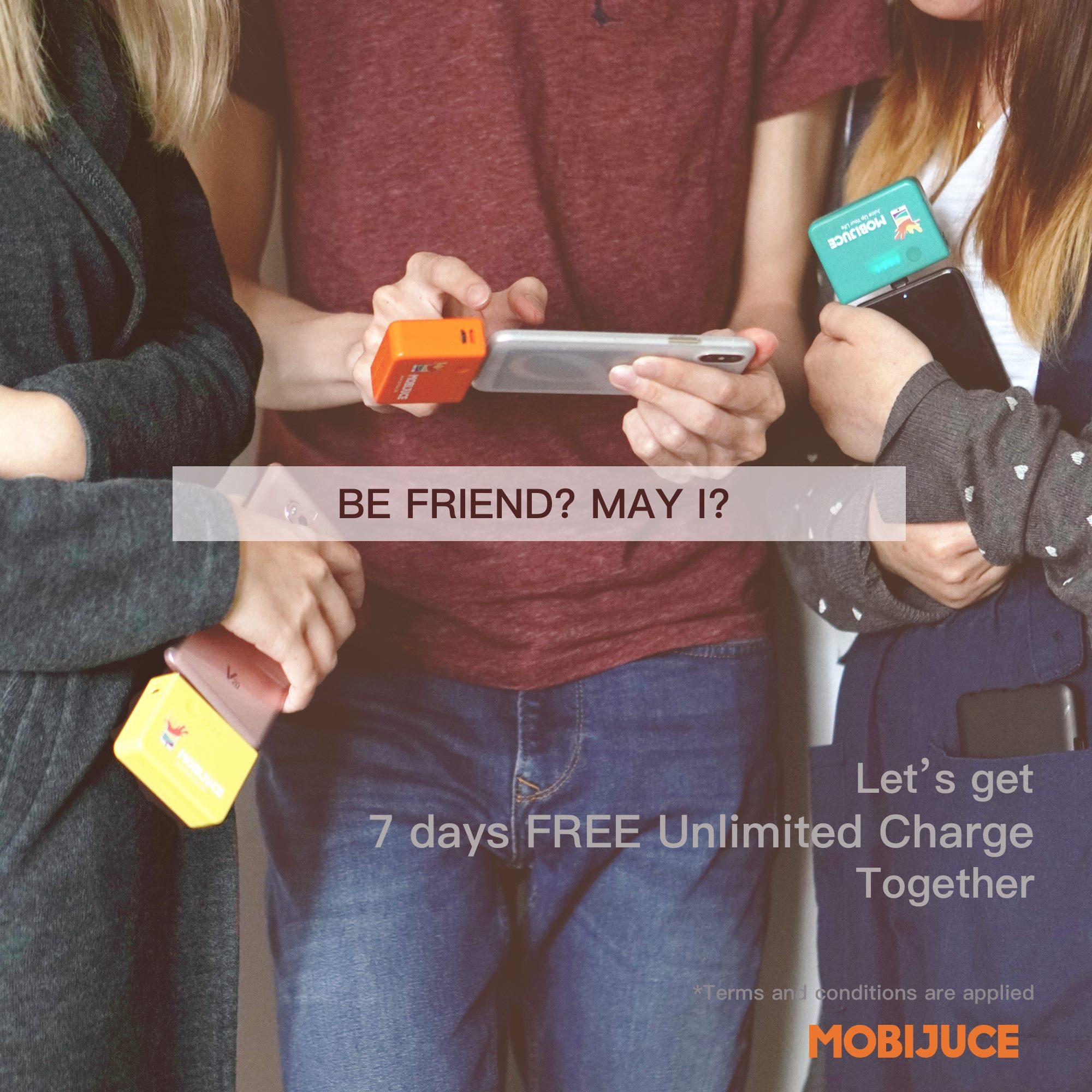 "⚡️邀請步驟⚡️ 1. 用戶登入MobiJuce應用程式後,到「免費充電」,按「邀請朋友」以發送下載應用程式連結給朋友。 2. 朋友完成下載及登記個人MobiJuce用戶後,到「新增優惠代碼」輸入邀請人專屬「邀請代碼」,並按「應用」後,朋友便成功換領「Be Friend? May I?新用戶7次免費使用」。 3. 朋友完成付款設定後,到任何JuceBox借電,並選取該優惠劵,即可開始免費使用*。完成借用步驟後,「Be Friend? May I?新用戶7次免費使用」優惠劵便會自動新增至邀請人的「我的優惠」中^。  *新用戶綁定信用卡後,即可取得$20免費充電額。若選擇不綁定信用卡,可到「我的錢包」中「增值」不少於$149充電額,以供7次免費使用後借電之用。  ^所有邀請步驟需要於5月內完成,才可換領「Be Friend? May I?新用戶7次免費使用」優惠劵,並於每次借用時選取該優惠劵方可使用。優惠有效日期為輸入優惠代碼日期起一年內使用,請注意每次借用時間超過24小時,系統會自動增值$129並留待日後使用。若每次借用總時間超過72小時,系統會從""我的錢包""扣取該129,以作行政費用。每次只可以使用一張有效優惠劵。不論邀請人或朋友借電時,皆需完成付款設定,並確保「我的錢包」內有$20充電額。  *優惠受條款約束。MobiJuce擁有最終決定權。"