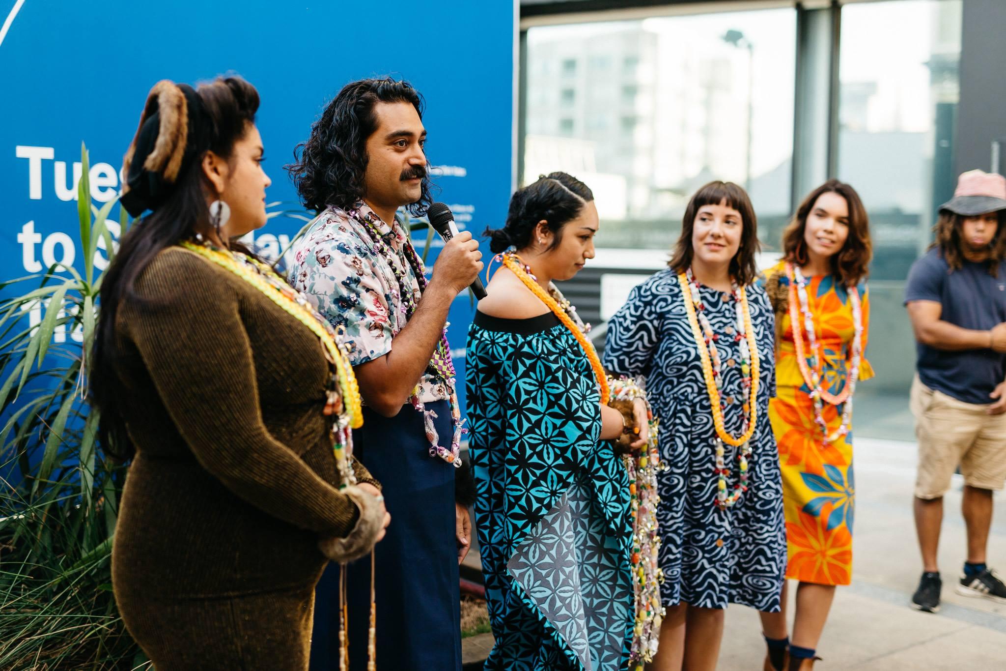 The Commute curators: Sarah Biscarra Dilley, Léuli Eshraghi, Lana Lopesi, Tarah Hogue and Freja Carmichael. Photography by Markus Ravik.