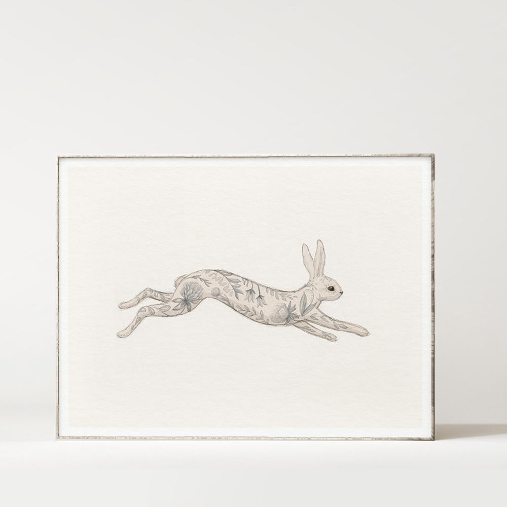Floral Fauna Hare Indigo Framed.jpg