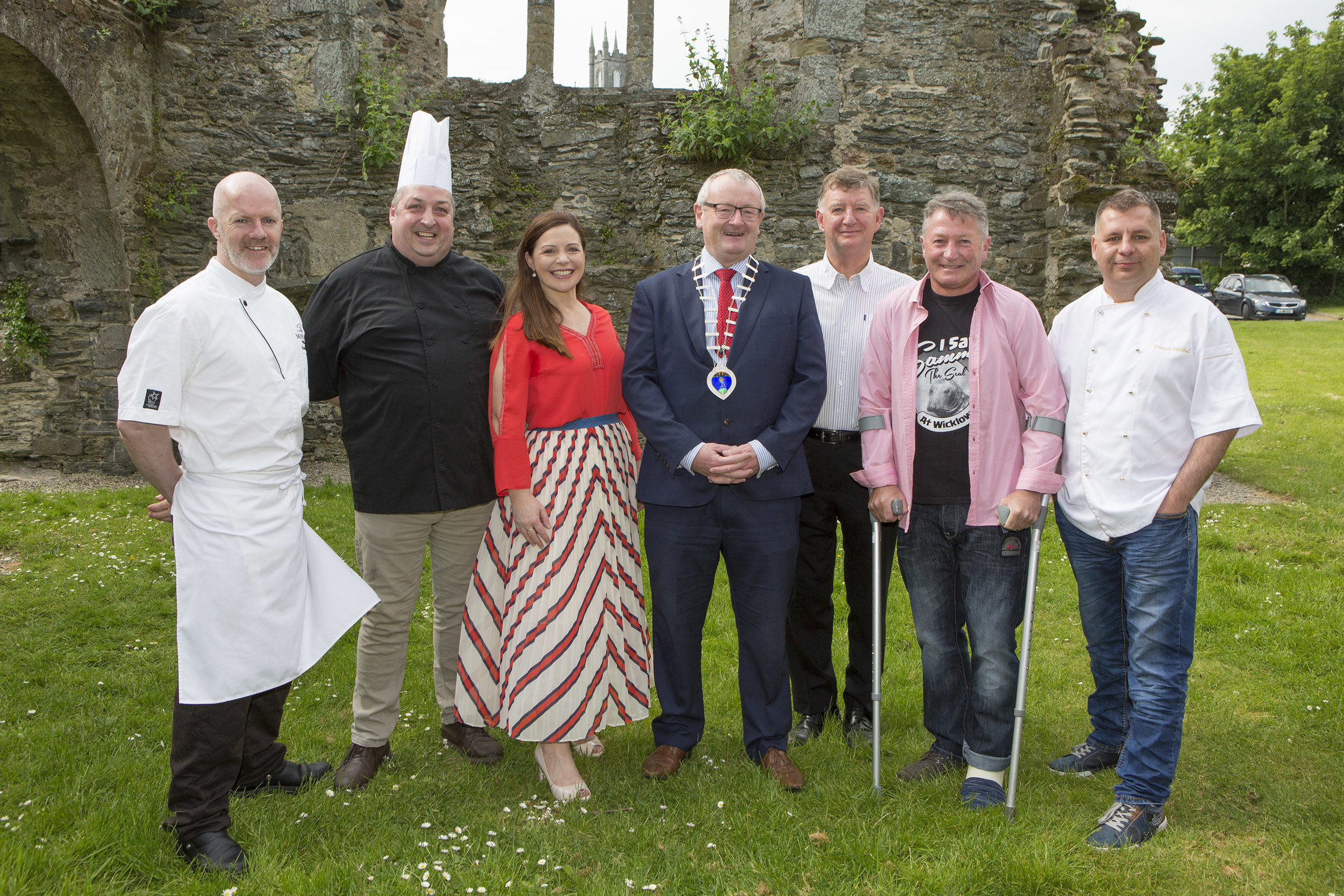 Taste of Wicklow Launch 2018, Left to Right: Paul Kelly, Executive Pastry Chef of The Merrion Hotel; Paul Smyth, Head Chef of The Mystic Celt; Robert Kelly, Store Manager of Gallagher's SuperValu; Robin Bradley, President of Wicklow Town and District Chamber; Pascal Burke, Taste of Wicklow 2018 Chairman; Alan Hegarty, Owner of The Lighthouse Restaurant; Diana Sheridan, Taste of Wicklow 2018 Committee Member; Tomasz Wzrobel, Head Chef of The Lighthouse Restaurant.