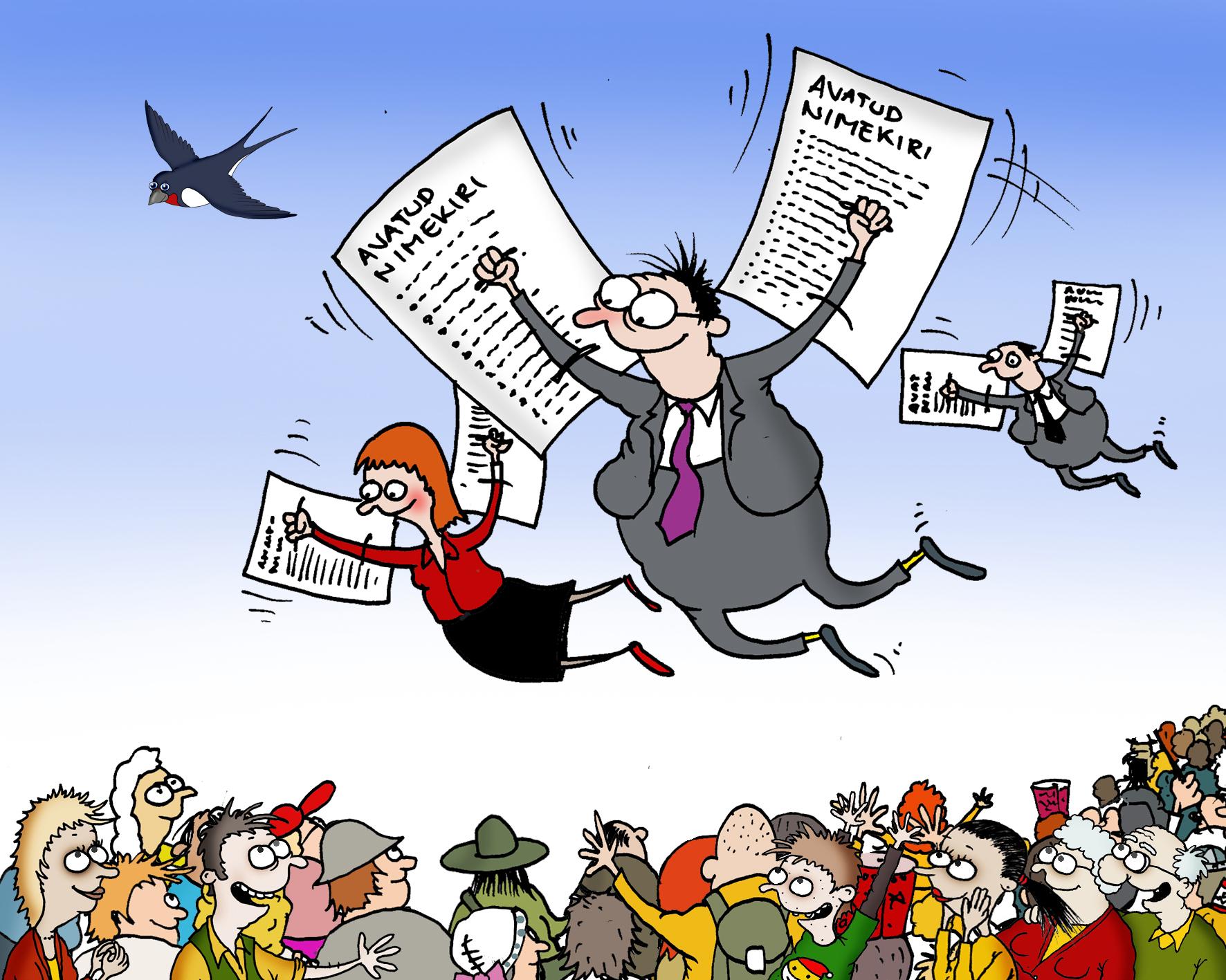 01.12   (illustratsioon: Urmas Nemvalts)   Muuta Riigikogu valimised valimisteks avatud nimekirjade alusel ning viia läbi valimisringkondade suuruse võrdsustamine. Kui suletud nimekirjadega jätkata, peaks RK liikme teenistusaeg piirduma kuni kahe järjestikuse tsükliga.