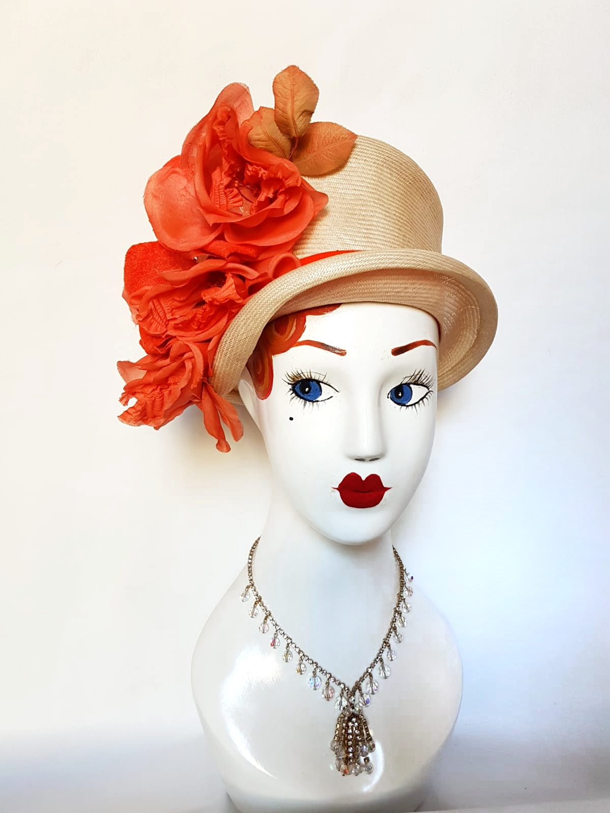 1940's Mr Joseph topper hat with orange floral spray