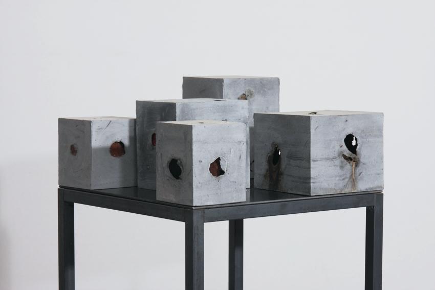 Stillleben (5-teilig)  2016  Betonguss  Eisen, Beton, Peperoni, Kaki, Orange, Granatapfel, Aubergine,   30 x 30 x 30 cm  (mit Sockel)
