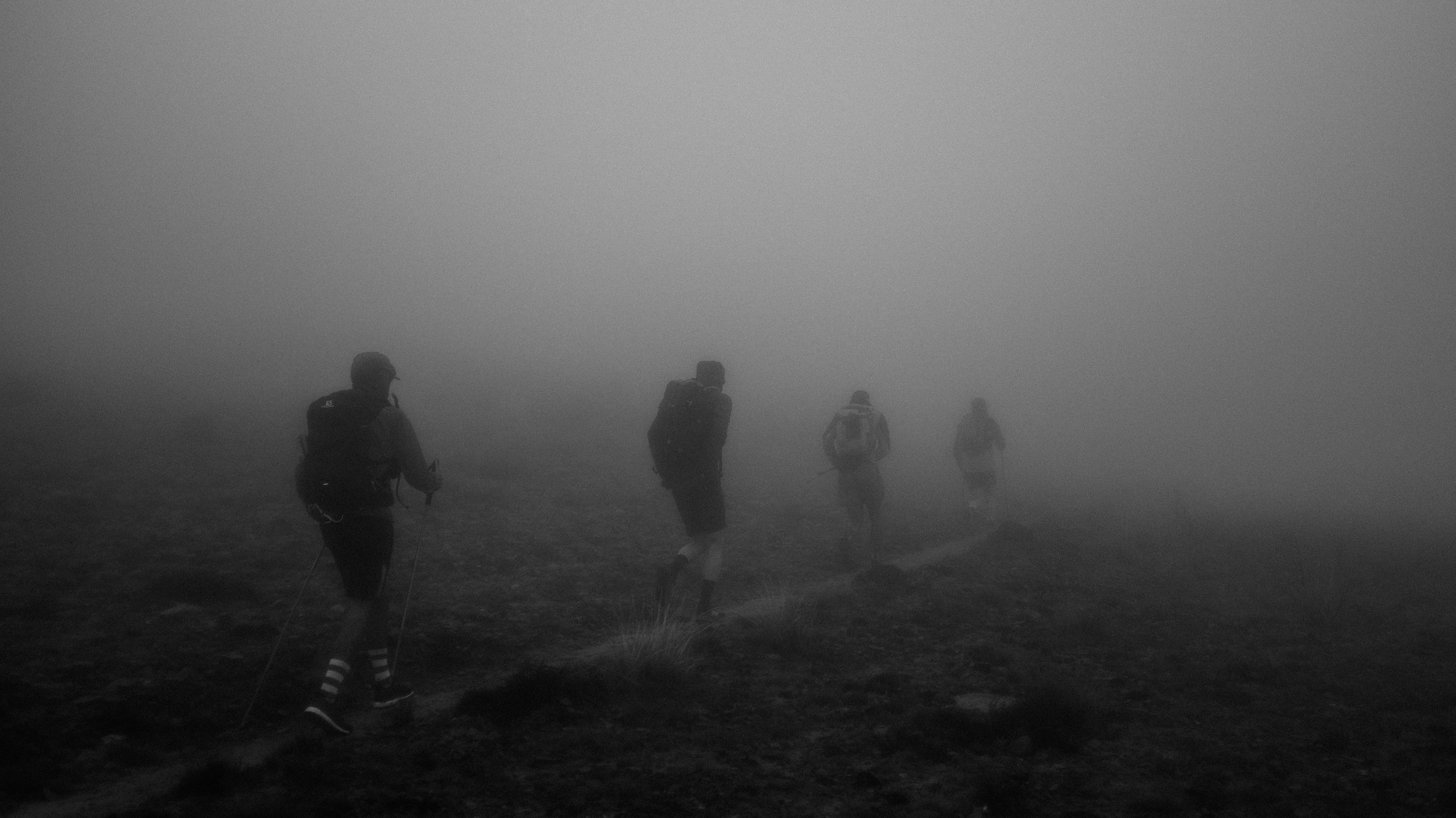Heading into the cloud on the final morning.