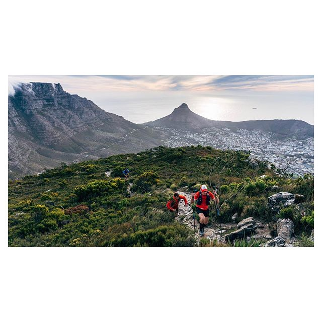Cape Town, South Africa.  @ryno_griesel, @jock.green and @vandermerwe.ruan on the final stretch to earning their @13_peaks 1 day badge.  The finish was understated, but special nonetheless. No more than 8 people had gathered at dusk to congratulate them, dish out a high five and a beer/sterie-stumpie/coke, and then go their separate ways. Just three dudes who had achieved their goal, and then some.  #13peaks #devilspeak