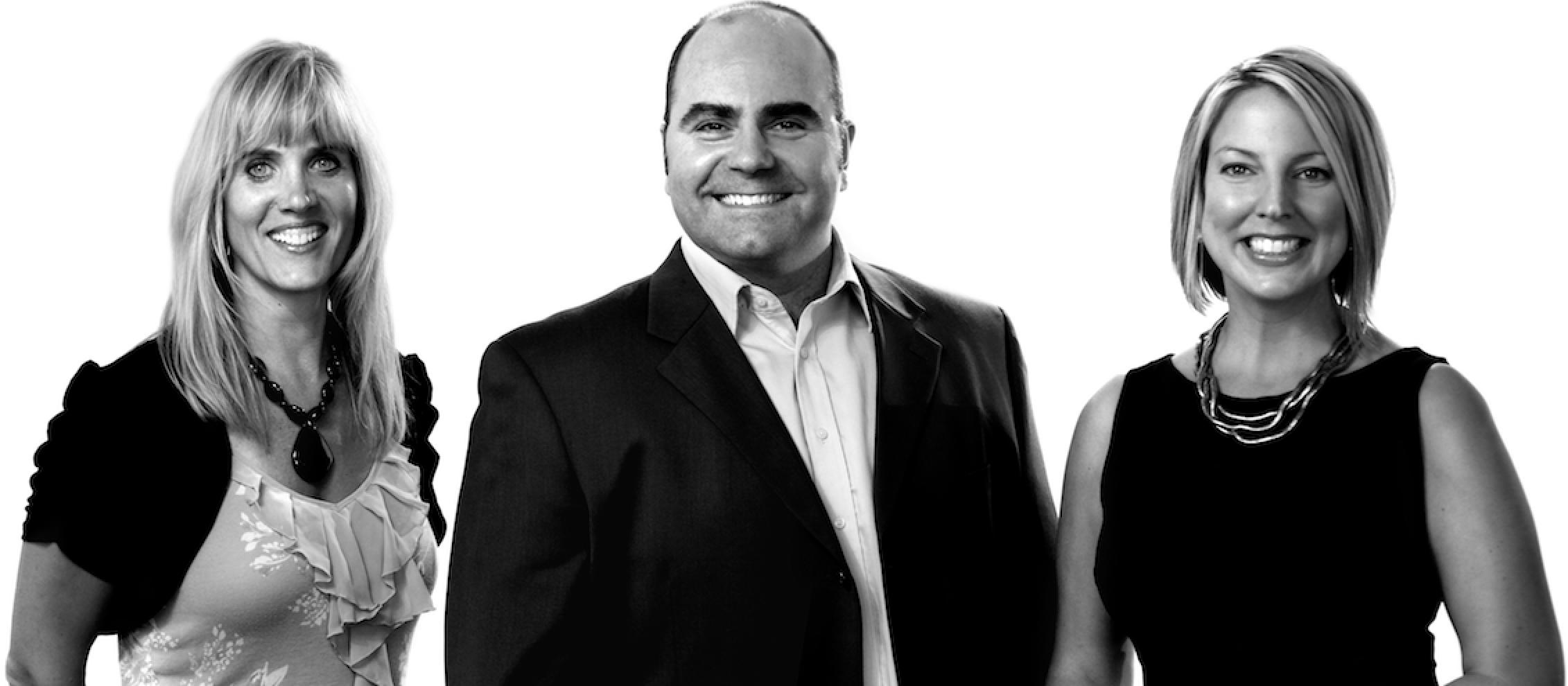 - (Left) Jody Kolars: Marketing Lead, Designer, Serial Entrepreneur(Center) John Nielson: Sales Lead, Strategic Marketing Guru(Right) Elissa Gjertson: Training Lead, Copywriter, Personal Development Author