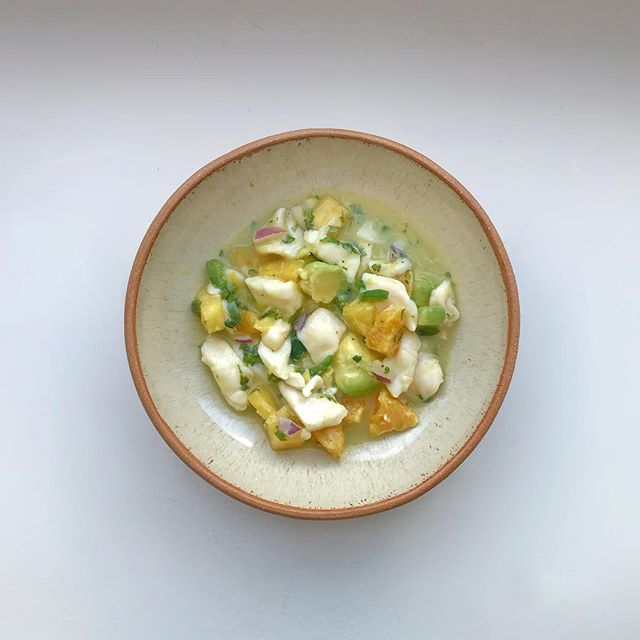 A bowl in action — A spicy scallop gazpacho with avocado, shallots, pineapple, & nectarine plated in a shino-glazed dish.