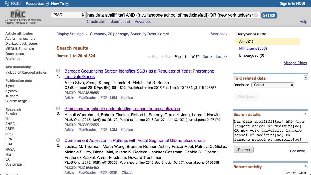 Search Results in PMC for articles published by researchers at NYU that also include a data availability statement.