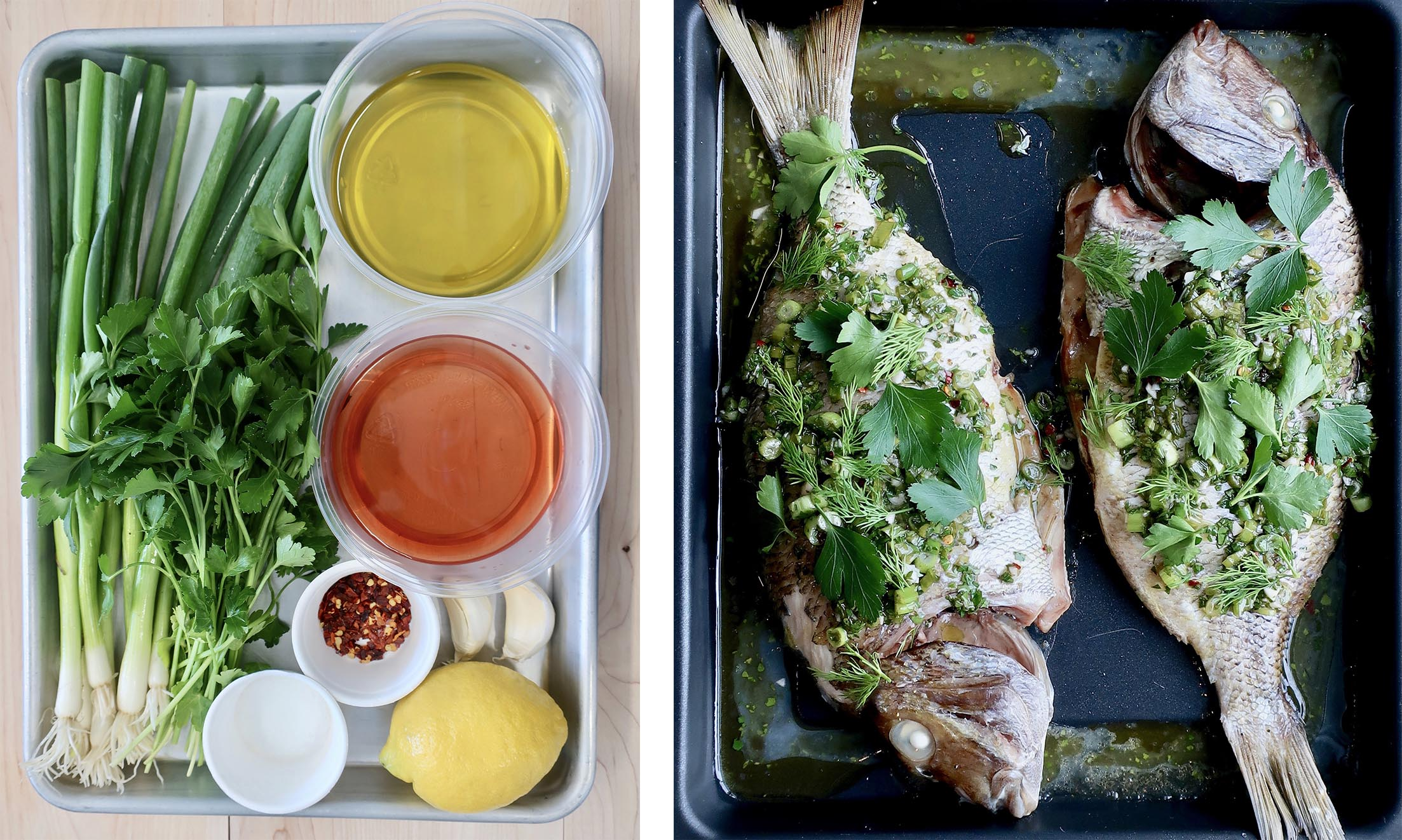 Roasted Whole Fish with Chimichurri -