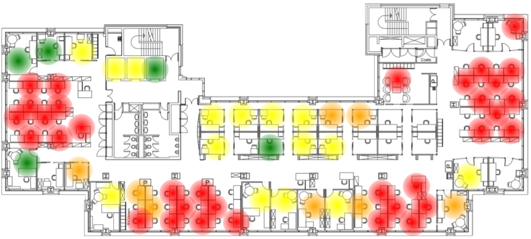 Show utilization on a heat map to see patterns across the workplace.