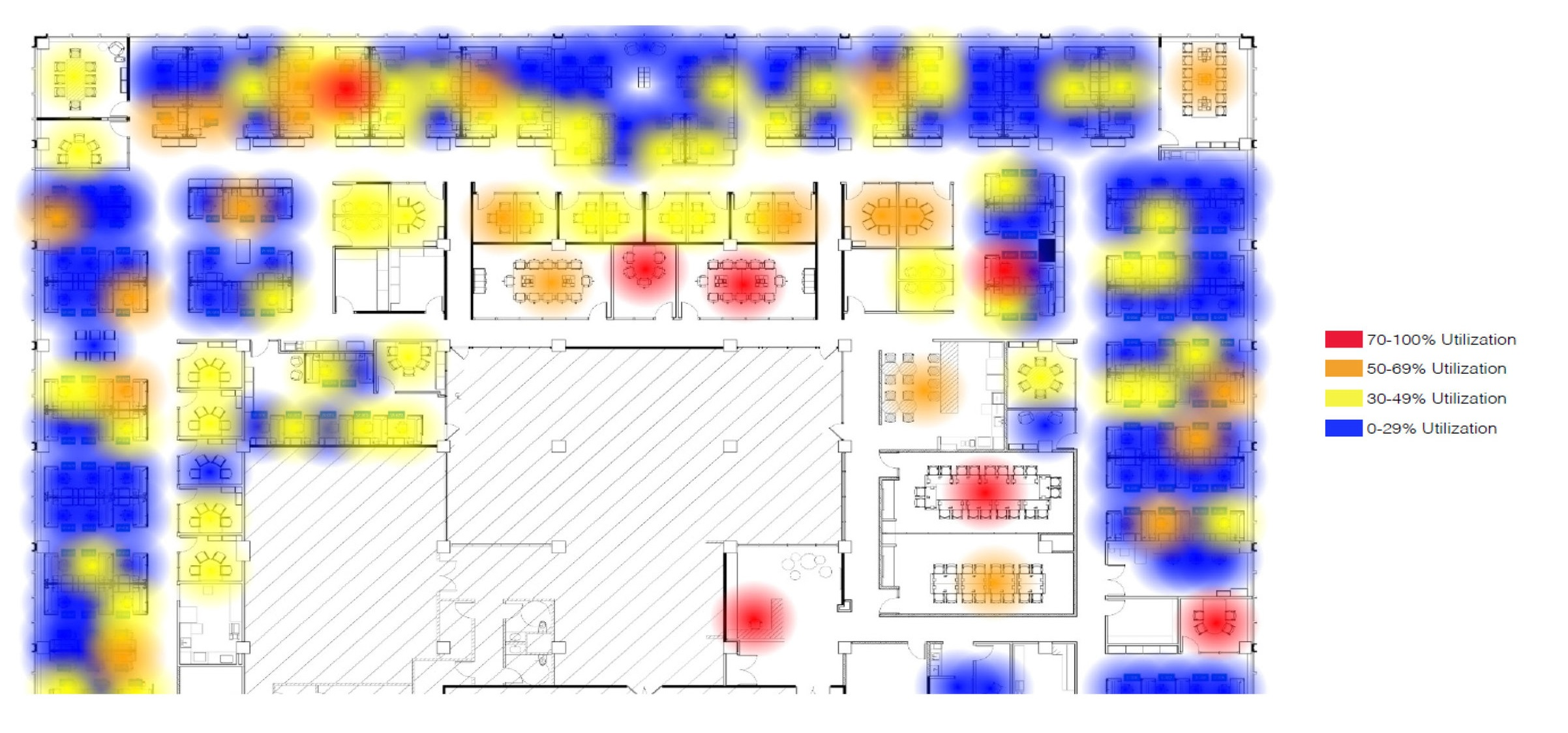 Heat maps show average utilization, either overall or by the hour of day.